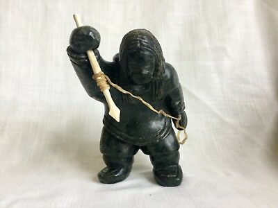 Old Inuit Eskimo Soapstone Carving Inuit With Harpoon