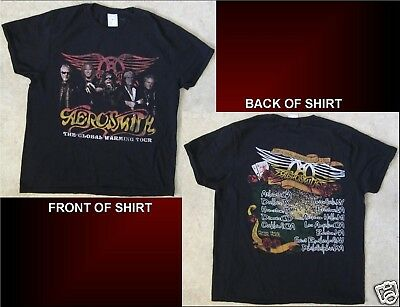 AEROSMITH The Global Warming Tour 2012 Size Large Black T-Shirt