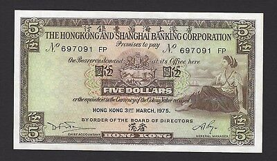 1975 Hong Kong $5 Dollars HSBC, Crisp New UNC Condition, 100% Original Paper
