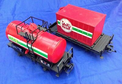 Two (2) Used LGB 2 Axle Cars from 20401RZ Set Tank Car & Container Car (NR)