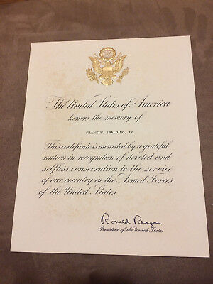 Ronald Reagan Autograph Frank Spalding Armed Forces Service Certificate Memorial