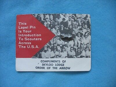1960's BSA Order of the Arrow / OA Lapel Pin on card issued by Skyloo Lodge 442