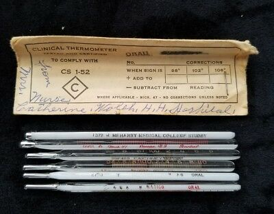 Vintage Glass Medical Thermometers Lot Of 6 Fever Temperature STUBBY FAICHNEY