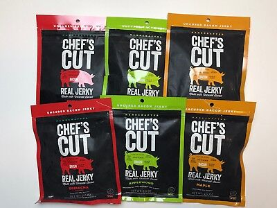 Chef's Cut Real Bacon Jerky 6 Count Maple, Applewood & Sriracha Gluten Free New