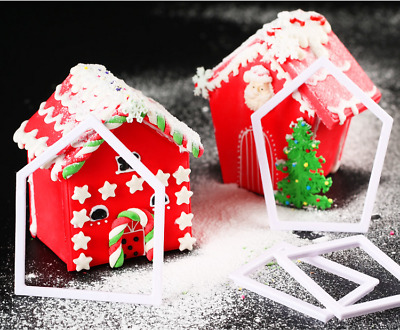 4Pcs Christmas House Biscuit Pastry Cookies Cutter Decoration Baking Mould Tools
