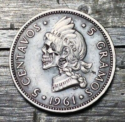 #138 1961 Dominican Republic 5 Centavos Hobo Skull Hand Carved By JAM