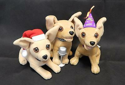 THREE VTG 2000 Taco Bell Talking Chihuahuas Promotional Toys EUC