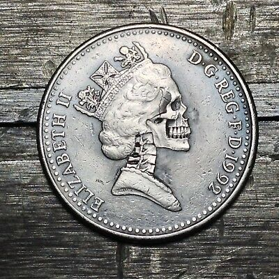#139 1992 10 Pence Hobo Skull Hand Carved By JAM