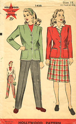 1940s Hollywood 1428 Jacket, Skirt & Pants  WWII Four Star Pattern FACTORY FOLDS