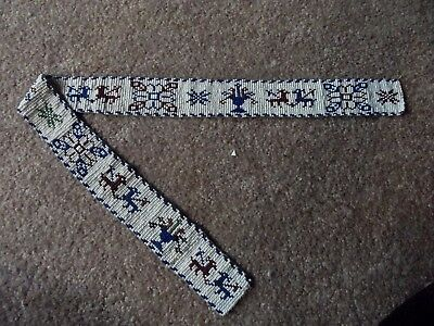 "24.5"" Antique Woven Seed Bead Belt Sash red white blue Folk Art native American"