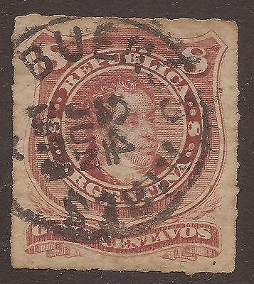 ARGENTINA. 1876. 8c LAKE. ROUL. USED BUENOS AIRES.