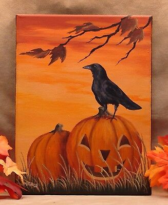Original Autumn Halloween Painting Black Crow Raven Jack O' Lantern Pumpkin