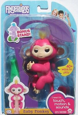 ++ AUTHENTIC WowWee Fingerlings Pink Monkey - Bella - With Bonus Stand
