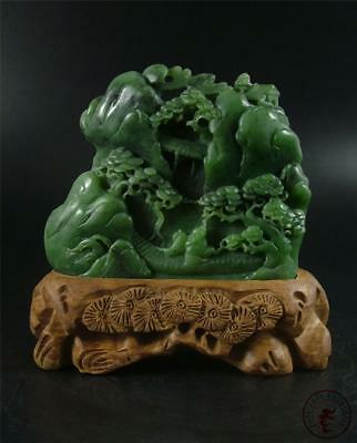 Large Old Chinese Natural Spinach Green Nephrite Jade Carved Mountain Statue w/