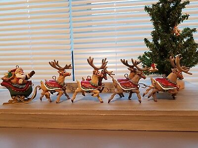 Hallmark Ornaments Santa and his Reindeer Collection Set - 5 Ornaments - 1992