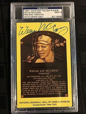 1964 HOF PLAQUE YELLOW Auto WILLIE McCOVEY PSA/DNA CERTIFIED & GRADED PSA 9 MINT