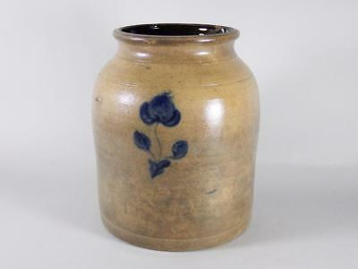 Antique Stoneware Crock with Cobalt Flower Design