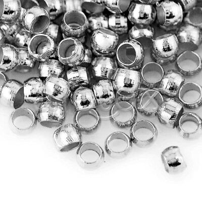 20g(1200pcs) Crimp End Beads Round Nickel Plated Jewelry Making 2mm FBCP0003