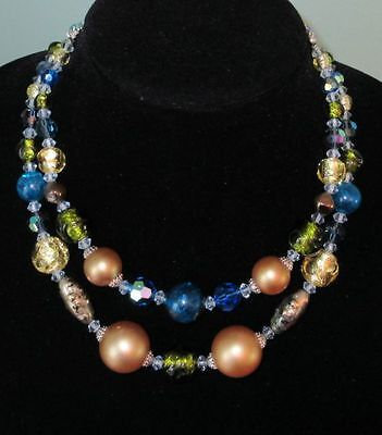 """Gorgeous Vintage """"Continental"""" Two Strand Necklace with Large Beads"""