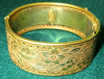 Miriam Haskell Gorgeous Early Gold Tone Bangle Bracelet Hallmarked 1940s