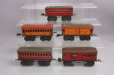 Fandor O Gauge Prewar Lithograph Tinplate Pass Cars: 3215, 5412, 2350 & 670 (5)