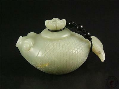 Old Chinese Celadon Nephrite Jade Teapot FISH STYLE W/ LOTUS COVER TOP QUALITY