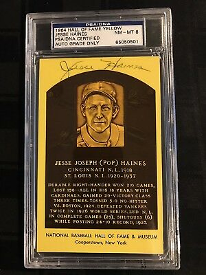 1964 HOF PLAQUE YELLOW Signed JESSE HAINES PSA/DNA CERTIFIED & GRADED PSA 8