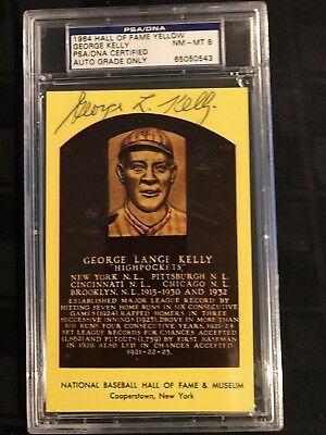 1964 HOF PLAQUE YELLOW Signed GEORGE KELLY PSA/DNA CERTIFIED & GRADED PSA 8