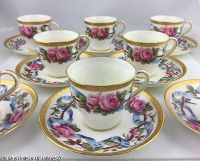 8 Antique Mintons Demitasse ROSES Cups Saucers RAISED GOLD Gilman Collamore