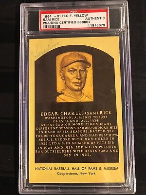 1964 HOF PLAQUE YELLOW Signed SAM RICE PSA/DNA CERTIFIED AUTHENTIC Edgar Charles