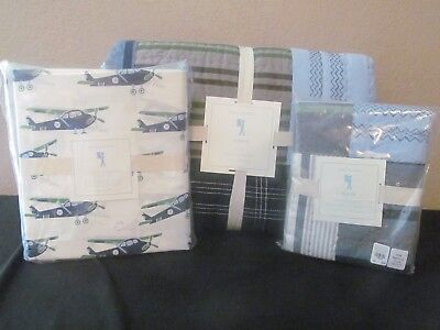 NEW 2p Pottery Barn Kids Parker patchwork teen madras Twin Quilt+Sham(no sheets)