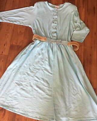 French Navy Vintage Size 20 Dress Baby Blue Stretch Knit Pockets Belt 80's plus