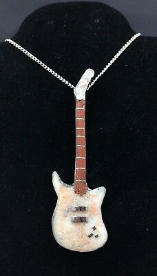 Silver and White Buffalo Turquoise Navajo Necklace Les Paul GUITAR *G53