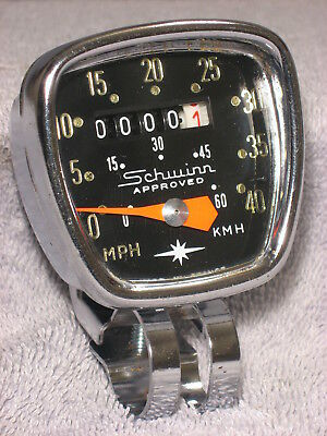 VINTAGE SCHWINN DELUXE 0-40 MPH/KmH BIKE SPEEDOMETER HEAD HURET BICYCLE SPEEDO