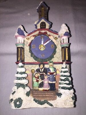 UNBRANDED NIB Clock W/Carolers In Front Of Church