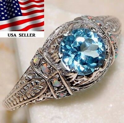 2CT Aquamarine & Fire Opal 925 Solid Sterling Silver Art Deco Ring Jewelry Sz 7