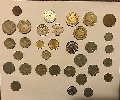 Middle East Coin Lot 33 Iraq Libya Egypt Sudia Emarat Bahrain Tunis and Oman