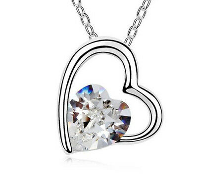 Fashion Womens Heart Clear Crystal Rhinestone Silver Chain Pendant Necklace