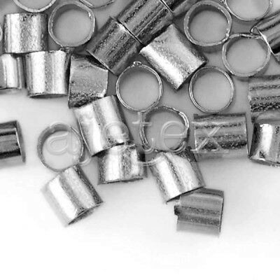 20g(600pcs) Crimp End Beads Tube Nickel Plated 2mm Jewelry Making FBCP0017