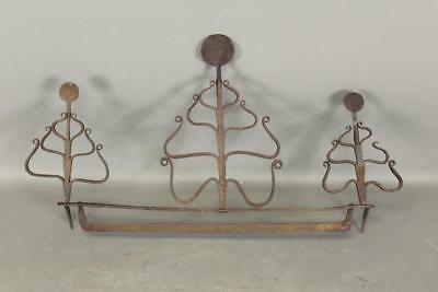 A Very Fine 18Th C  Decorated Wrought Iron Hanging Utensil Rack All Original