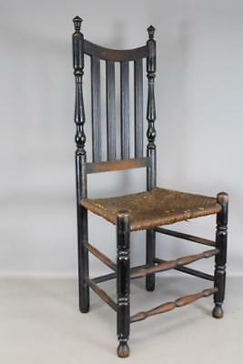 A Great 18Th Connecticut Bannister Back  Bold Form Yoke Back Four Reeded Slats