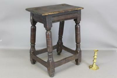 Very Rare 17Th C Pilgrim Joint Stool In Oak With Molded Aprons Old Surface