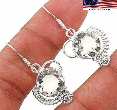"5CT White Topaz 925 Solid Genuine Sterling Silver Earrings Jewelry 1 1/2"" Long"