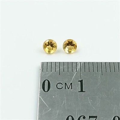 NATURAL CITRINES x2 – 3.5mm Round Cut Brilliant Citrine Loose Gemstones