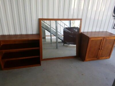 Beautiful Large Timber Framed Mirror And Matching Cabinet Good Condition Can De