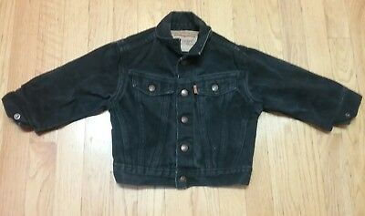 Vintage USA LEVIS black denim jean jacket 2 toddler child's kid's baby coat