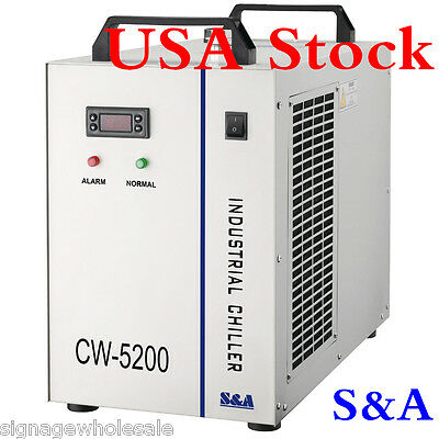 US 220V S&A CW-5200BH Industrial Water Chiller for 130-150W CO2 Glass Laser Tube