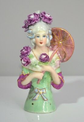 Lady Madelaine with Umbrella Handmade Flowers Porcelain  Half Doll