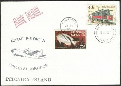 1983, New Zealand To Pitcairn Official Airdrop, Dual Franked Souvenir Cover.