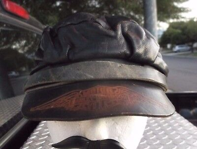Vtg 1930s-40s Harley Davidson Horsehide Leather Cycle/Biker Cap Newsboy Cabbie